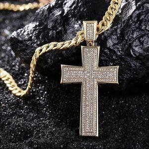 Men's two tone gold silver cross necklace diamond